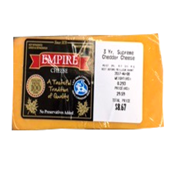 EMPIRE CHEDDAR 3 YEAR 12OZ-price by weight
