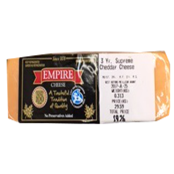 EMPIRE 3 YEAR  OLD CHEDDAR 8OZ-price by weight