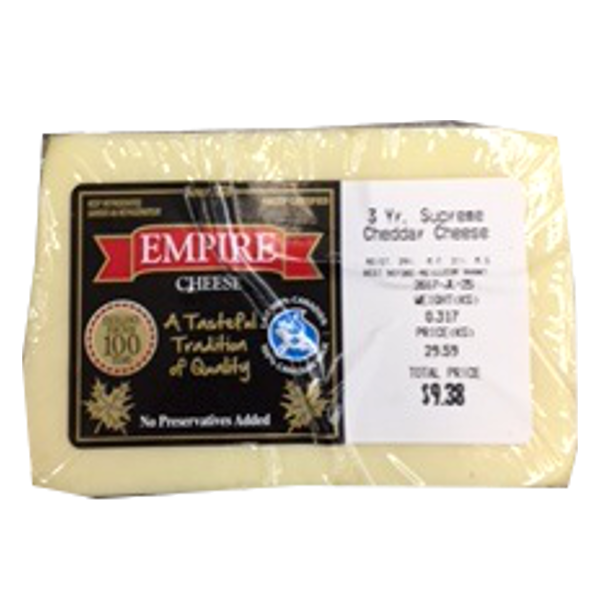 EMPIRE WHITE CHEDDAR 3 YEAR 12 OZ-price by weight