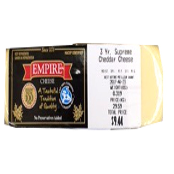 EMPIRE 3 YEAR WHITE CHEDDAR 8OZ-price by weight