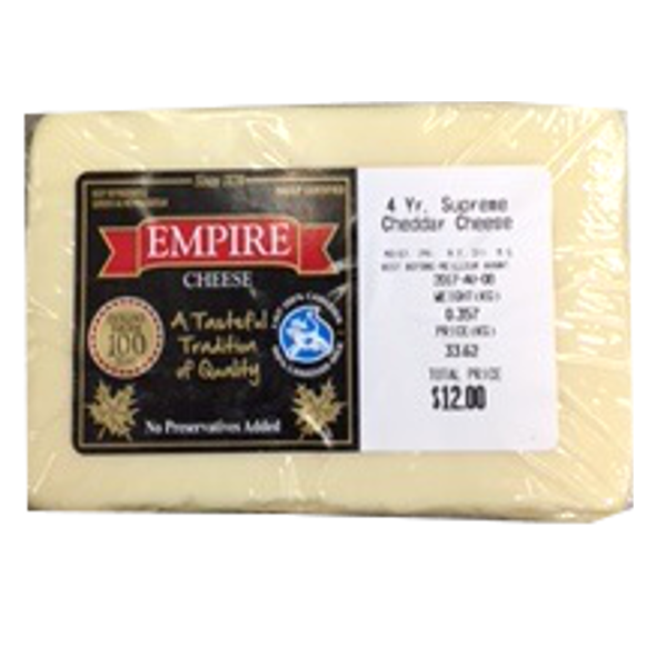 EMPIRE WHITE CHEDDAR 4 YEAR 12oz-price by weight