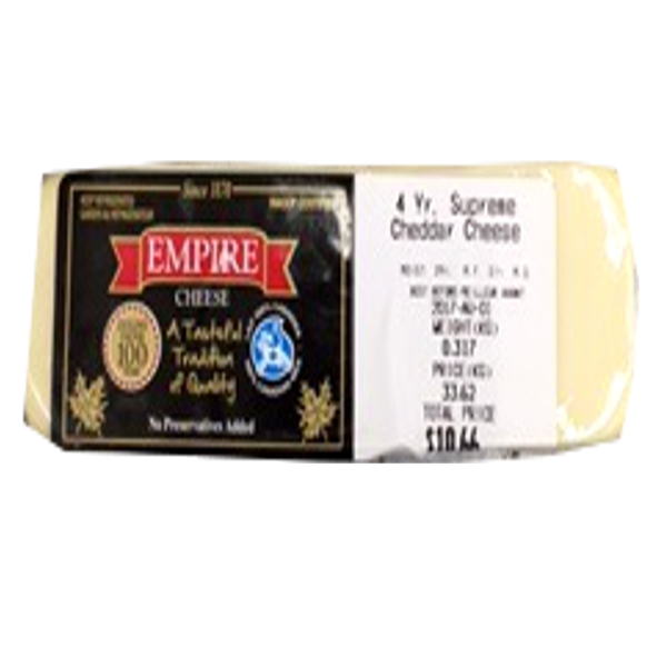 EMPIRE4 YEAR WHITE CHEDDAR 8OZ-price by weight