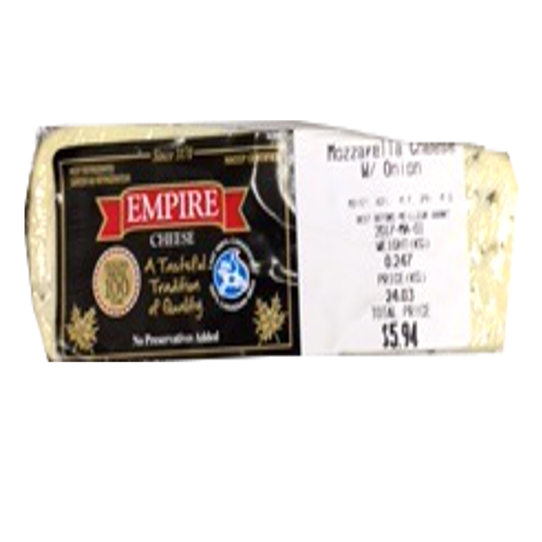 EMPIRE MOZZARELLA ONION CHEESE 8OZ-price by weight