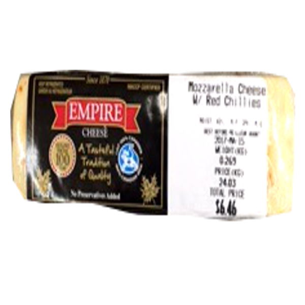 EMPIRE MOZZARELLA RED CHILLI CHEESE 8OZ-price by weight