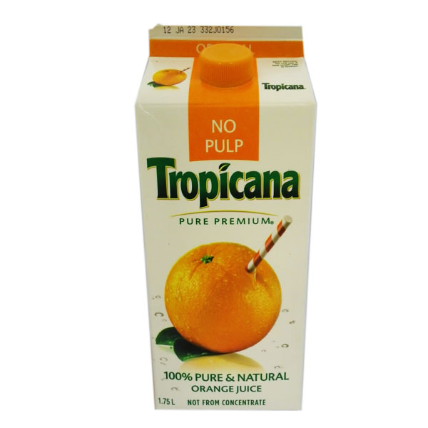 Tropicana No Pulp Orange Juice - 1.75L