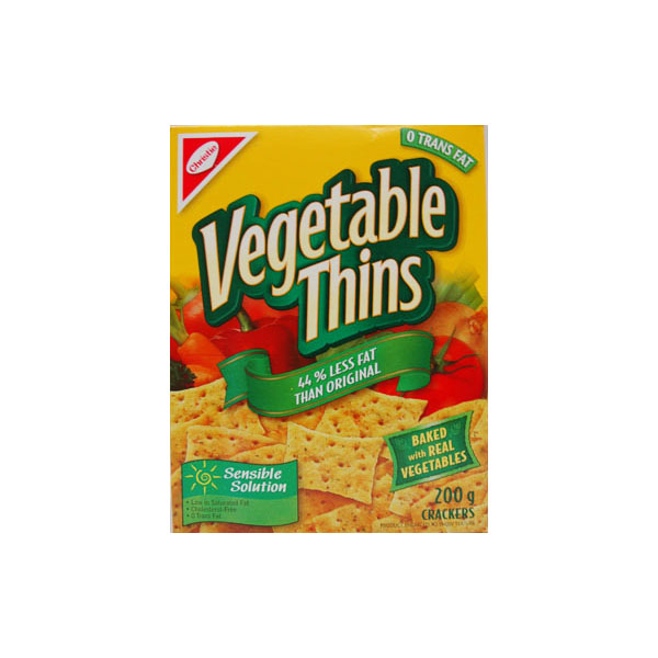 Vegetable Thins Less Fat