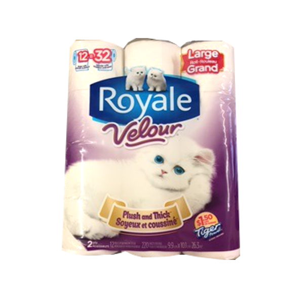 ROYALE VELOUR BATHROOM TISSUE 12 ROLL LARGE